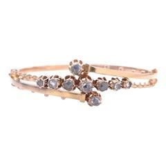 Vintage Victorian Revival Diamond 14 Karat Gold Bangle