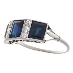 Vintage Victorian Sapphire Diamond Platinum Ring
