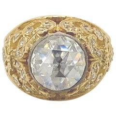 Vintage Victorian Style Apx 1.40 Carat Rose Cut Diamond Ring