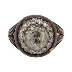 Vintage Victorian Style Apx 2 Carat Rose Cut Diamond Ring with Halo