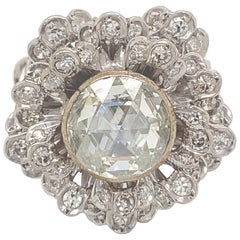 Vintage Victorian Style Apx 2.75 Carat Rose Cut Diamond Ring with Halo