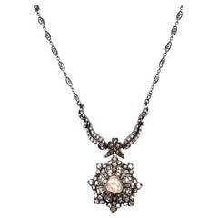 Vintage Victorian Style Apx 4.30ct Rose Cut Diamond Drop Necklace