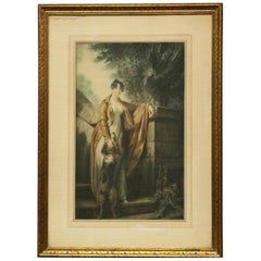 Vintage Victorian Style Genre Print of a Woman and Her Dog, 20th C