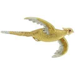 Vintage Victorian Style Pheasant Sporting Brooch, 18 Carat Gold, 1990s