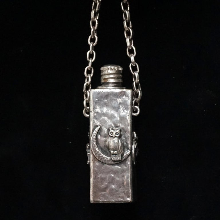 Vintage Victorian Style Silver Plated Fairytale Book Chain Necklace with Bottle For Sale 4