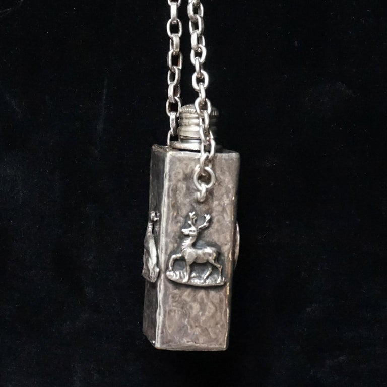 Vintage Victorian Style Silver Plated Fairytale Book Chain Necklace with Bottle For Sale 5