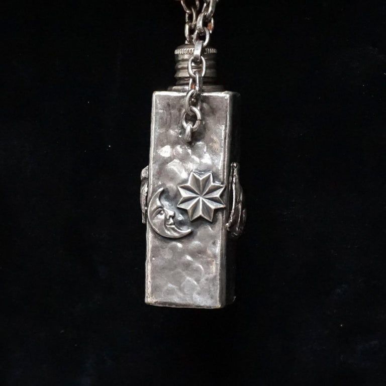 Vintage Victorian Style Silver Plated Fairytale Book Chain Necklace with Bottle For Sale 6