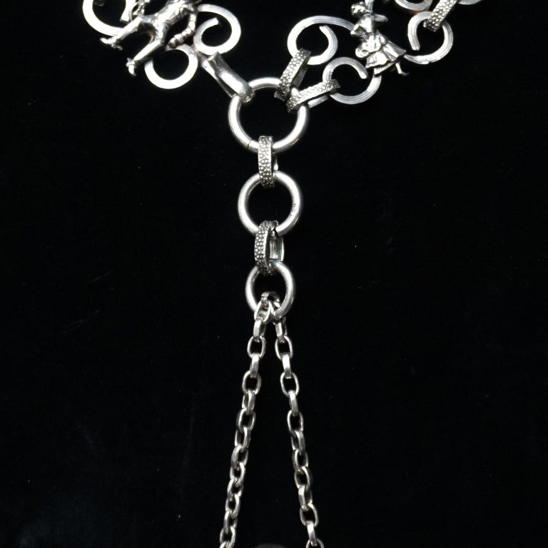 Vintage Victorian Style Silver Plated Fairytale Book Chain Necklace with Bottle For Sale 8