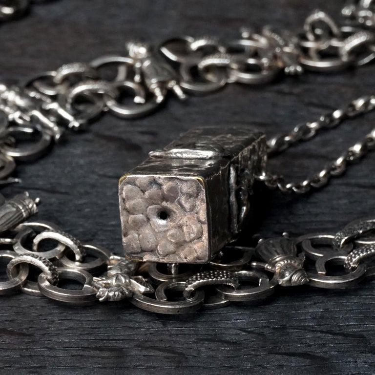 Vintage Victorian Style Silver Plated Fairytale Book Chain Necklace with Bottle For Sale 10