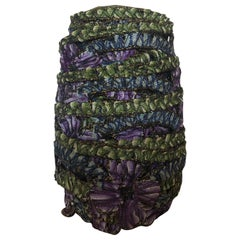 Vintage Victorian Style Woven Green and Purple Metallic Threads and Silk Trim