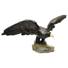 Vintage Vienna Bronze Bald Eagle Figurine Sculpture Marked Austria