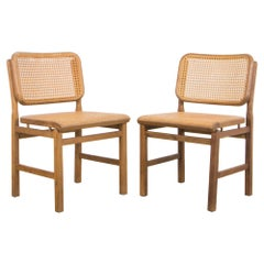 "Vintage ""Vienna Straw"" Oak Side Chairs, A Pair"