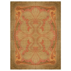 Vintage Viennese Art Nouveau Pale Rose and Dusty Orange Hand Knotted Wool Carpet