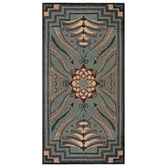 Vintage Viennese Bold Blue Sky Hand Knotted Wool Carpet