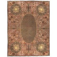 Vintage Brown Viennese Handwoven Wool Carpet