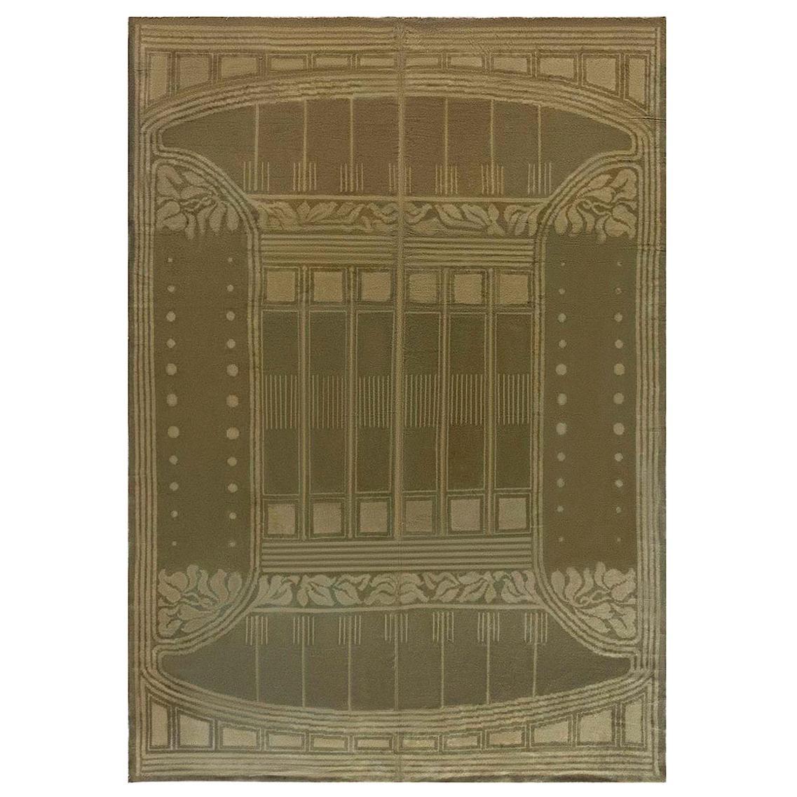 Vintage Viennese Art Deco Gold Yellow Handmade Wool Rug
