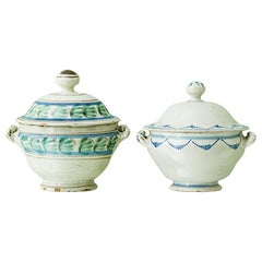 Vintage Vietri Ceramic Tureen with Blue and Green Glace, Italy Late 19th Century