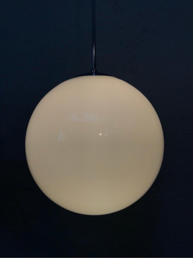 Vintage Vilhelm Lauritzen for Louis Poulsen Opaline Bell Pendent Chandeliers For Sale 2
