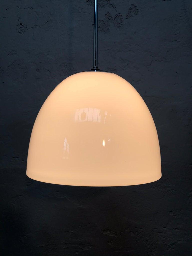 Blown Glass Vintage Vilhelm Lauritzen for Louis Poulsen Opaline Bell Pendent Chandeliers For Sale