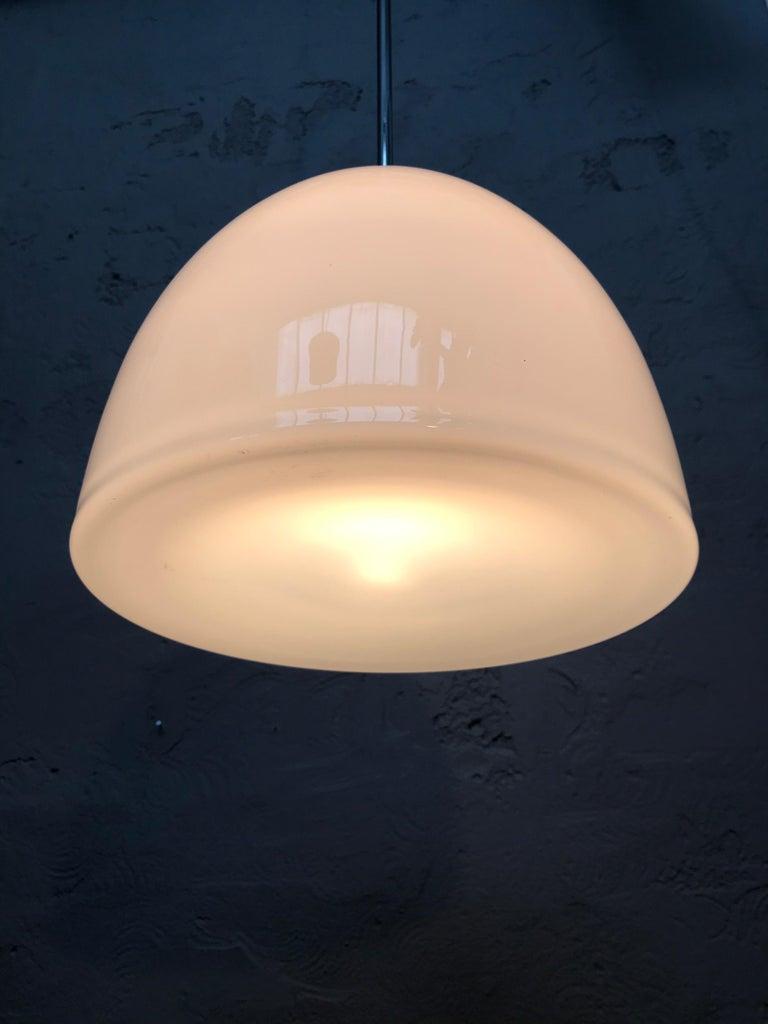 Vintage Vilhelm Lauritzen for Louis Poulsen Opaline Bell Pendent Chandeliers For Sale 1
