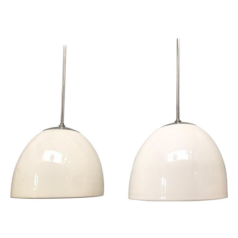 Vintage Vilhelm Lauritzen for Louis Poulsen Opaline Bell Pendent Chandeliers For Sale