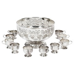 Vintage Viners of Sheffield Punch Bowl Set with 12 Cups, Mid-20th Century