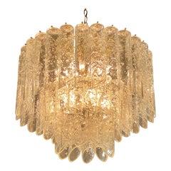 Vintage Vistosi Murano Glass Lace Design Tube Chandelier 3-Tier