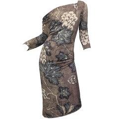 Vintage Vivienne Westwood 1990s Brown + Blue Lead Print Off - Shoulder 90s Dress