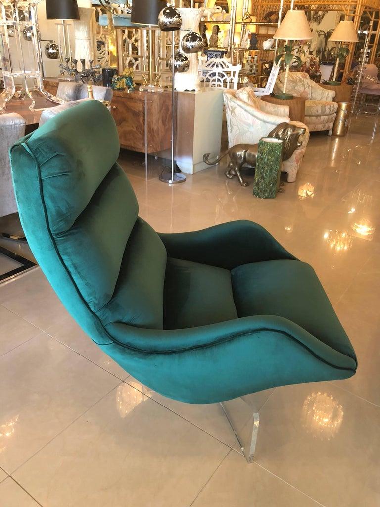 beautiful swivel club chairs | Vintage Vladimir Kagan Lucite Swivel Lounge Chair Green ...