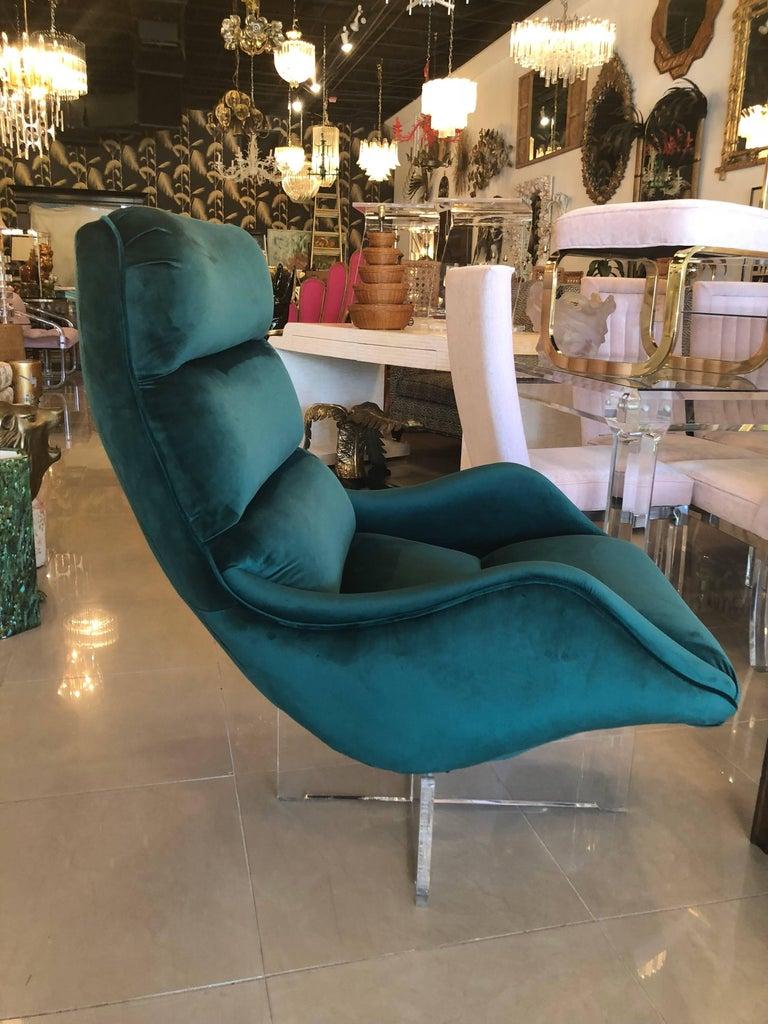 Vintage Vladimir Kagan Lucite Swivel Lounge Chair Green