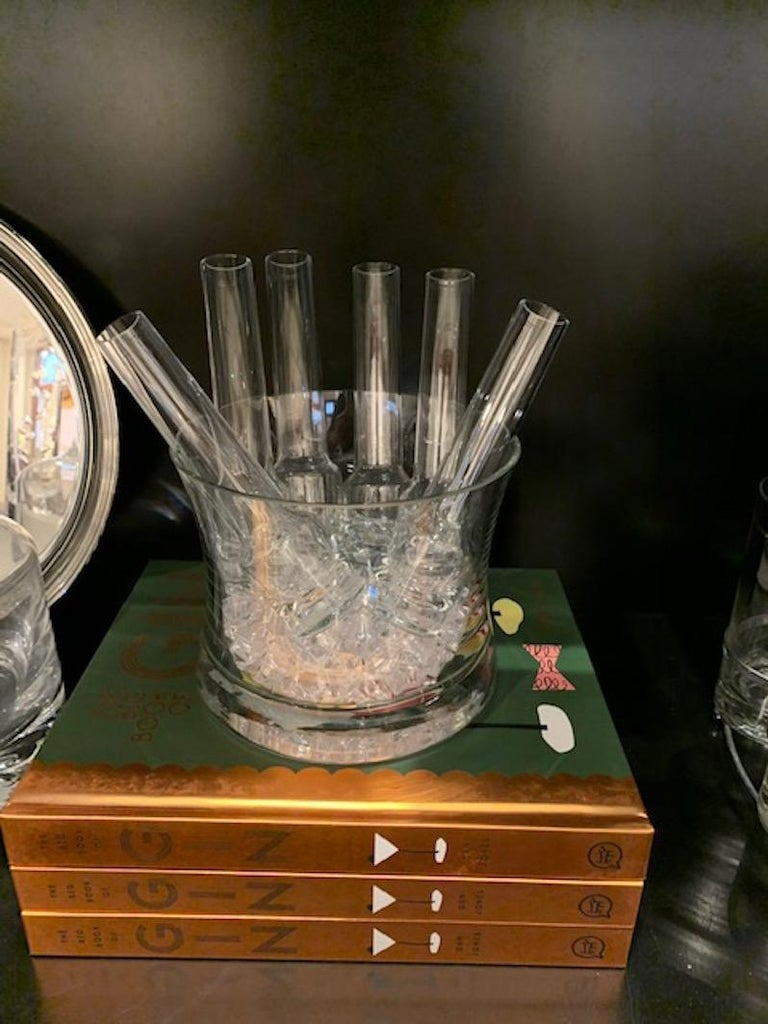 Great vodka chiller, ice bucket with 6 shot glasses. This set is in great vintage condition. There are no chips, fleabites, or cracks. What a great way to offer up a chilled shot of vodka or other type of shot. Very impressive presentation and will