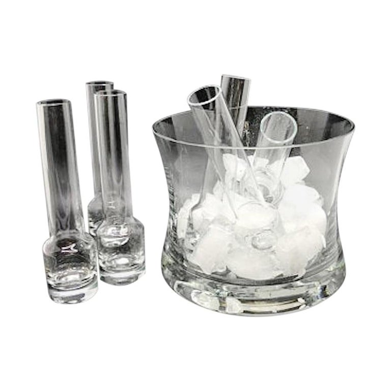 Vintage Vodka Glass Chiller with Ice Bucket and 6 Shot Glasses For Sale