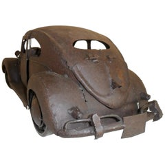 Brutalist VW Beetle  Metal Sculpture by Antonio Fortanel, Mexico, 1960s