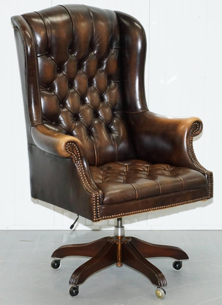 We Are Delighted To Offer For This Lovely Original Wade Upholstery Chesterfield Aged Brown Leather