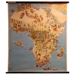 Vintage Wall Chart of Africa by Westermann, circa 1960