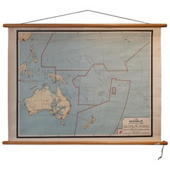 Vintage Wall Chart of Australia, 1949