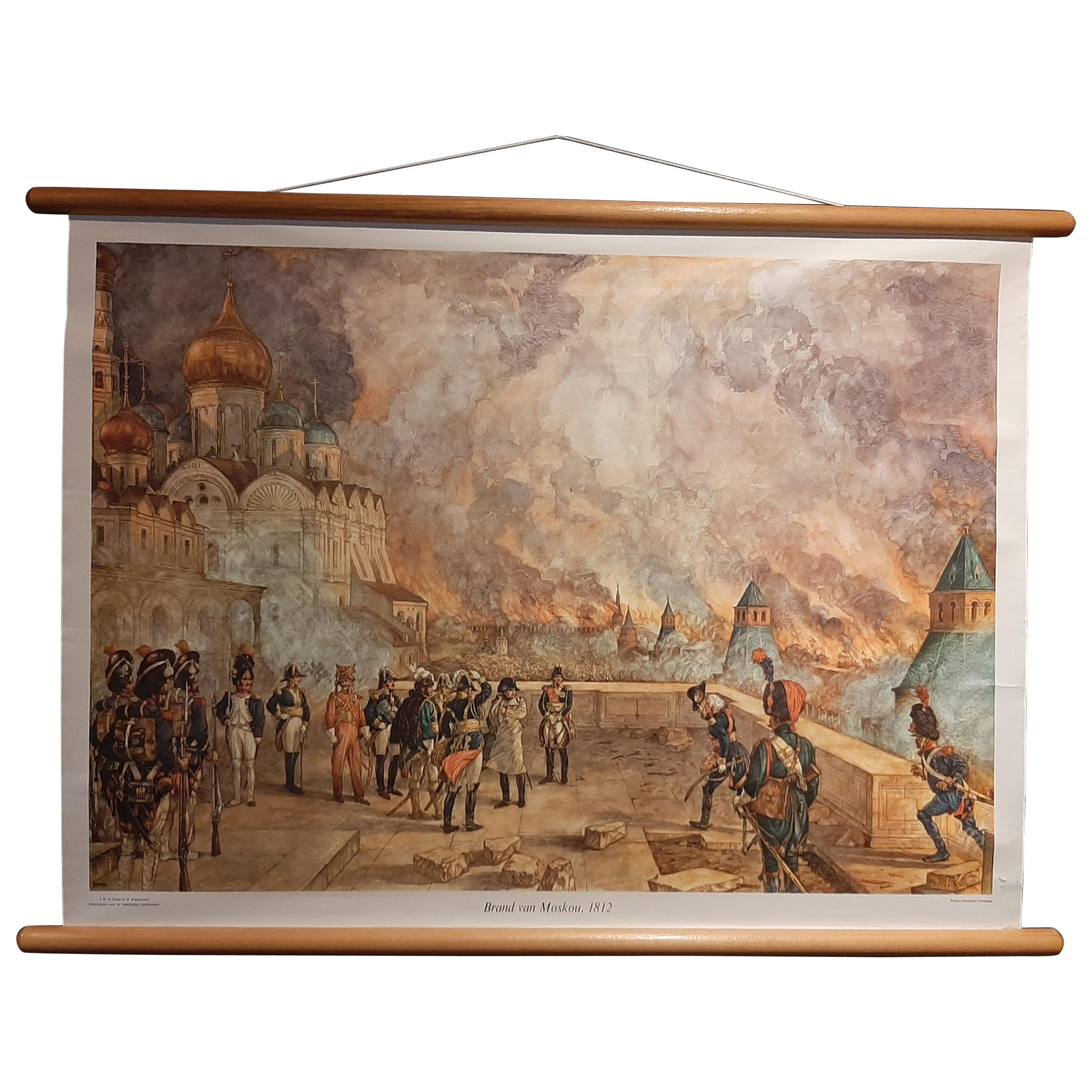 Vintage Wall Chart of the Fire of Moscow by Isings 'circa 1950'