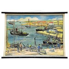 Vintage Wall Chart Poster Fishing Harbour Maritime Ships Sea Promenade