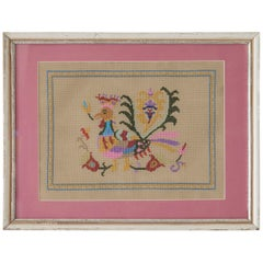 Vintage Wall Embroidery in Antique Frame