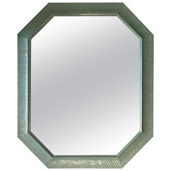Vintage Wall Mirror Lacquered Palm Beach Green Large