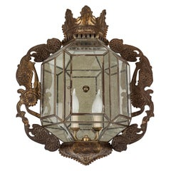 Vintage Wall-Mounted Fixture with Leaded Glass Panels