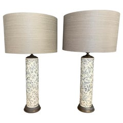 Vintage Wall Paper Roll Base Table Lamps, Pair