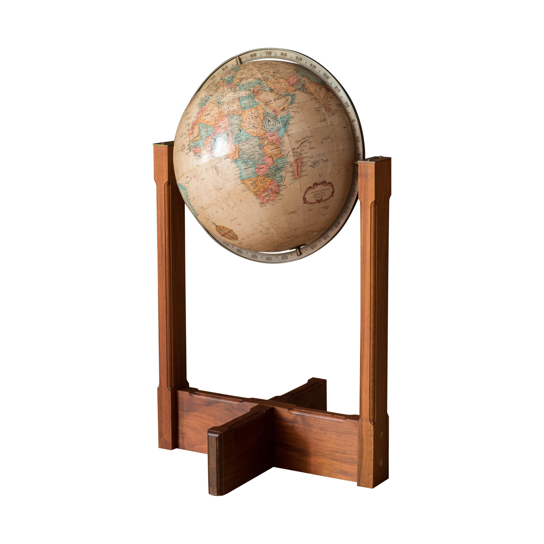 Vintage Walnut and Brass Repogle Globe Stand