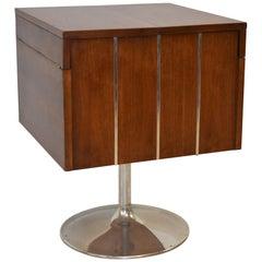Vintage Walnut and Chrome Revolving Folding Bar Cart by Lane Furniture