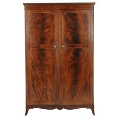 Vintage Walnut Armoire, 2-Door Armoire, Wardrobe, Closet, Scotland 1930, B1185