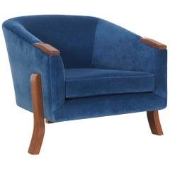 "Vintage Walnut ""Barrel"" Lounge Chair"