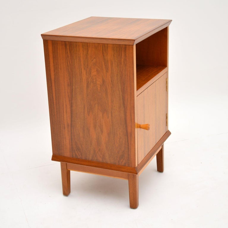Vintage Walnut Bedside Cabinet by Alfred Cox In Good Condition For Sale In London, GB