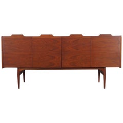 Vintage Walnut Bi-Folding Doors Credenza by John Caldwell