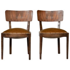 Vintage Walnut Chairs with Studs & Straps and Springs in Velvet, Italy, 1920s, S
