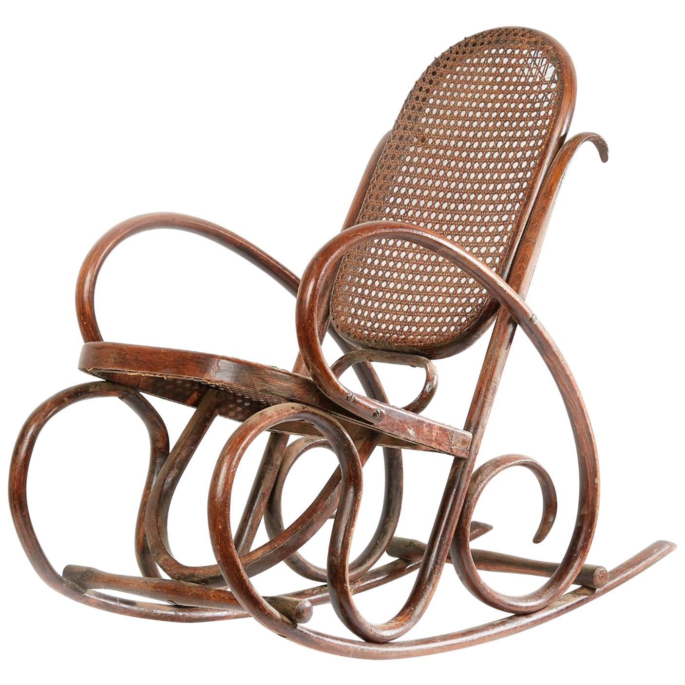 Vintage Walnut Child's Rocking Chair, circa 1920s